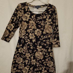 Karen Scott Sport Black Floral Dress PS NWOT